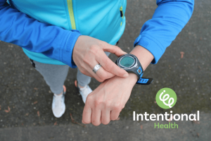Week 1 on Intentional HealthOnline Course. Image of a sports watch tracker