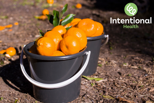 Buckets of oranges
